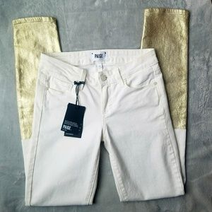 PAIGE White Skinny Jeans with Gold Detail!